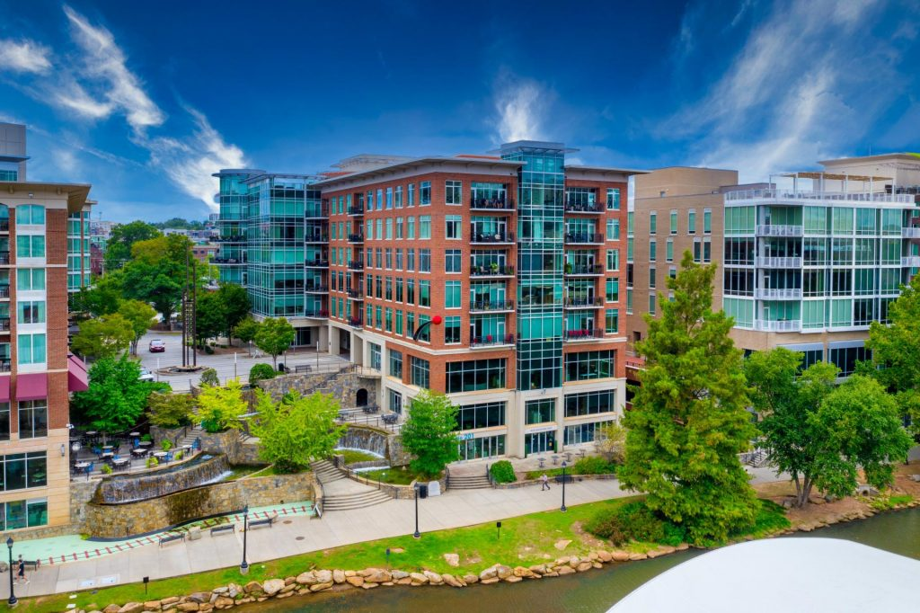 west end downtown greenville commercial photography - drone