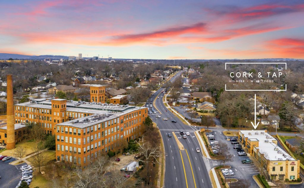 cork and tap tasting room aerial photography sunset