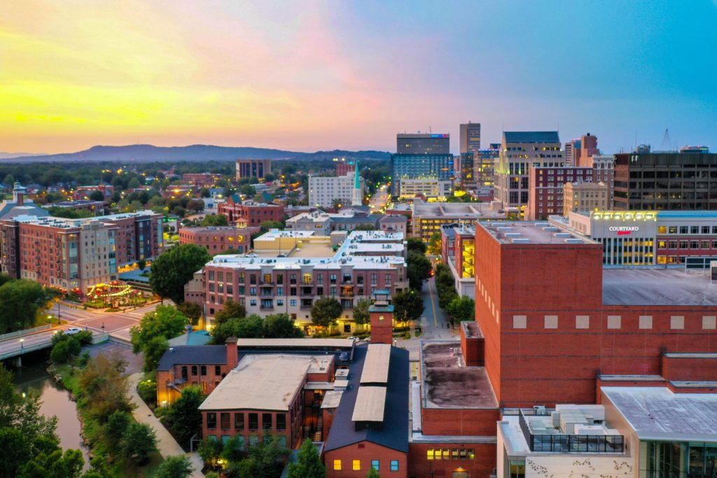 downtown greenville sc twilight commercial photography