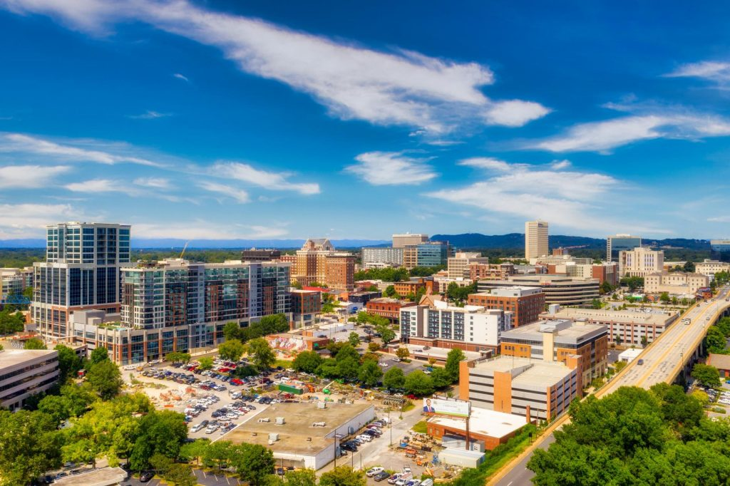 downtown greenville aerial photography