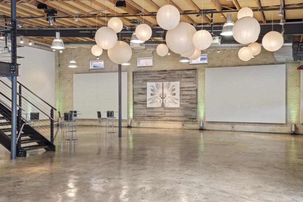lights over event floor - building interior - greenville sc