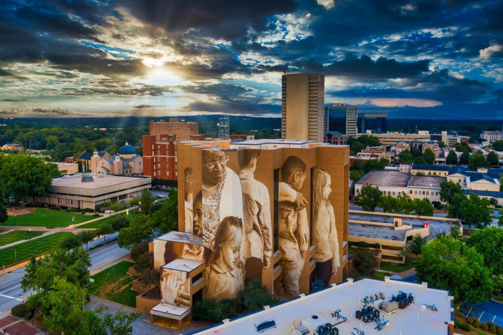 commercial photography - pearlie harris building and sky - downtown greenville sc